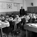 pupils in the classroom, pioneers