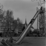 Călăţele, Library, children playing on slide, Aghireş