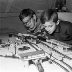 Luţu and Radu C. with the train and the aquarium